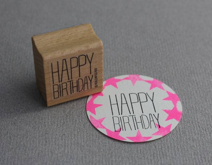 Stempel hout Perlenfischer Happy Birthda